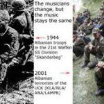"""Музичари су се променили али је музика остала иста.. На левој страни, 1944 - Албанске јединице из 21st Waffen SS Division """"Skenderbeg"""". На десној страни, 2001 - Албански терористи из ОВК / UCK (KLA/NLA/ANA/LAMPB)"""