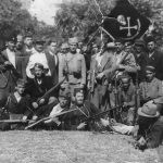 Dinara Chetnik Division Fighters from the village of Srb, among them is Stevo Radjenovic(standing in the middle with a civilian hat). Before the war Stevo Radjenovic was a member of the parliament and during the war he was an advisor to duke Djujic. In the front(laying) are chetnik commanders Petar Djilas and Pero Rajak (both died in exile after the war).