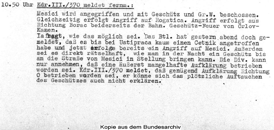 Један од немачких докумената од 13. октобра 1943, на основу којих је писан овај чланак. Документа су набављена у Бундес архиву