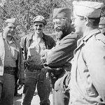 Генерал Дража Михаиловић са члановима америчке војне мисије, јесени 1944. године. С лева на десно: Пуковник Роберт Мекдауел, капетан Џорy Мусулин, капетан Никола Лалић, Дража и поручник Мајкл Рајачић