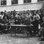 Bosnia, Oktobar 1944. Speech by Colonel McDowell. General Mihailovic sits in the middle