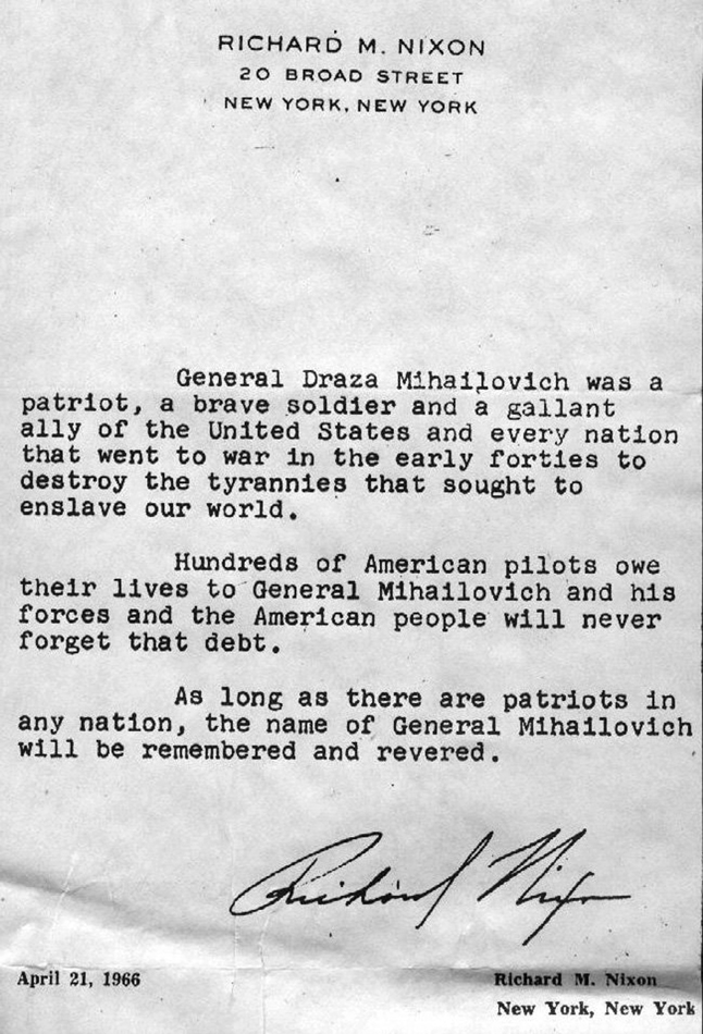 President Nixon about General Mihailovic