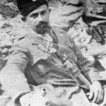 Симо Бурсаћ, звани Мимо Прпа, један од петорице првих устанка 27. јула 1941. у Дрвару, на снимку у Топољу код Книна 1943. године