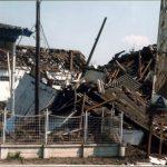 Резултат дејства касетних бомби по центру Ниша