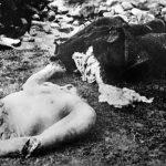 Тело четника кога су партизани заробили и исекли на комаде, у околини Дубровника пролећа 1942.