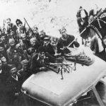Пребацивање четника Дринског корпуса према Централној Босни у операцији гоњења Немаца и усташа октобра 1943. године. Ови камиони заплењени су од Немаца приликом ослобађања Вишеграда, 5. октобра 1943. године
