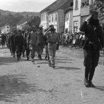 Дефиле бораца Рудничког корпуса у Белановици после протеривања Немаца септембра 1944. године