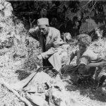 Учитељ Лука Ивановић (погинуо повлачећи се кроз Босну 1945. године), над једним лешом извађеним из јаме по ослобођењу овог краја од комуниста