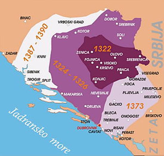 Територије под влашћу Твртка Првог, краља Срба Босне и Приморја