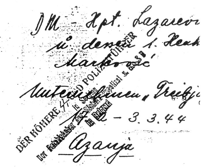 Позадина слике убијеног капетана Лазаревића. Види се печат СС-а, јер су љотићевци предали фотографију есесовцима, као доказ свог ''успеха''