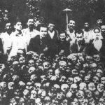 Лобање Срба убијених у месту Подмилачје код Јајца, откопане после рата