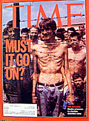 "The daily propaganda against the Serbs was mostly based upon unverified statements issued by their adversaries and doubtful documents. The rumour about alleged ""Death camps"" turned into an official ""truth"" after a video track showing this thin man was seen in the whole world. German journalist Thomas Deichmann proved that this se­quence shot by the ITN TV team was a hoax, and showed how it was made (Die Weltwoche, January 9, 1997)."