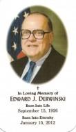 Front Memorial card Derwinski March 5, 2012 Arlington Cemetery NET