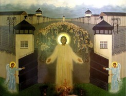 Icon of Christ opening the gates of Dachau