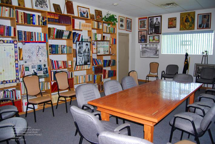 Voyvoda Momchilo Djujich's personal library in Chetnik Memorial Hall in Schererville (Crown Point) Indiana