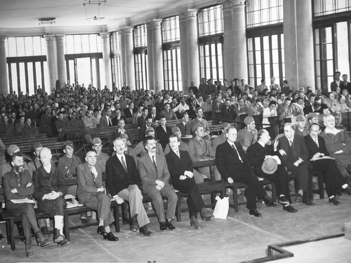 General Draza Mihailovich, front row, far left corner, at his Belgrade trial in 1946 that would end in his execution. Photo courtesy of Bob Ivkovic.
