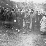 Село Ба, 28. јануара 1944: Васић, Терзић, капетан Батрићевић, Дража, Џорџ Мусулин, др Мољевић, Балетић, др Живко Топаловић (иза)
