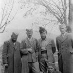 Први с лева капетан Никола Цановац, ађутант пуковника Станишића, мајор Андрија Весковић, командант Андријевичке бригаде и поручник Радивоје Војводић у Острогу 1942. године