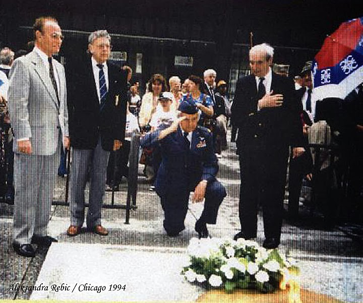 50th Anniversary Celebration of the Halyard Mission Chicago, IL May 1994 Left to right: Rescued Airmen Milton Friend, Norman Reid (Canada), Richard Felman, saluting, and OSS Chief of the Mission, Major George Vujnovich. Photo: Rebic Collection