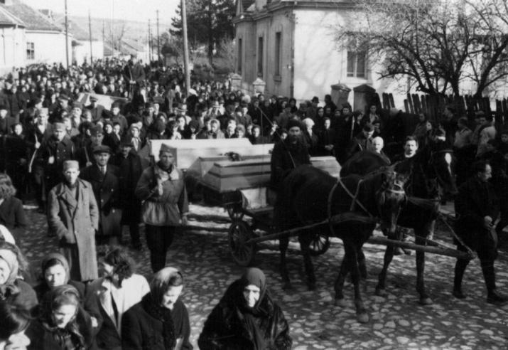 Јагодина, 2. фебруара 1944. године: Недићевци на спроводу својих чиновника убијених претходног дана