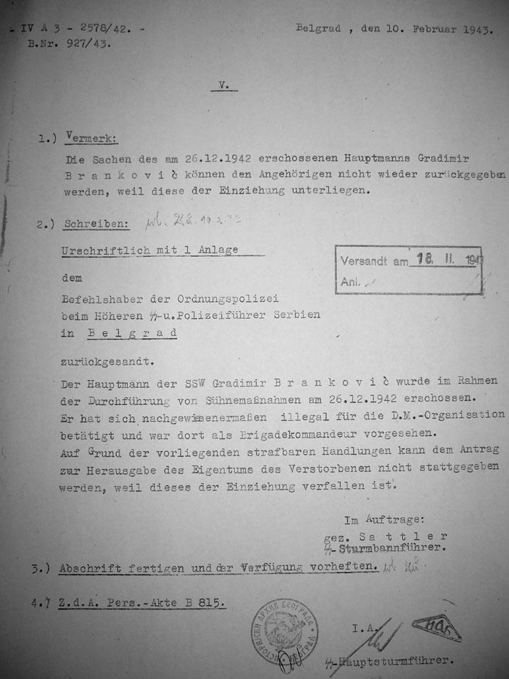 Документ Гестапоа о капетану Бранковићу на немачком