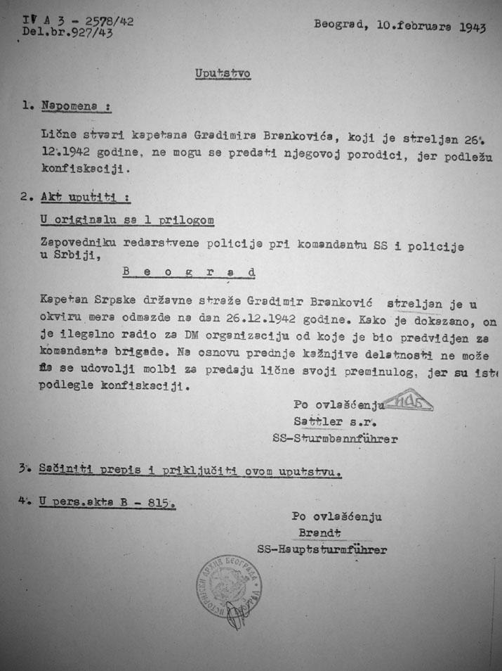 Документ Гестапоа о капетану Бранковићу на српском