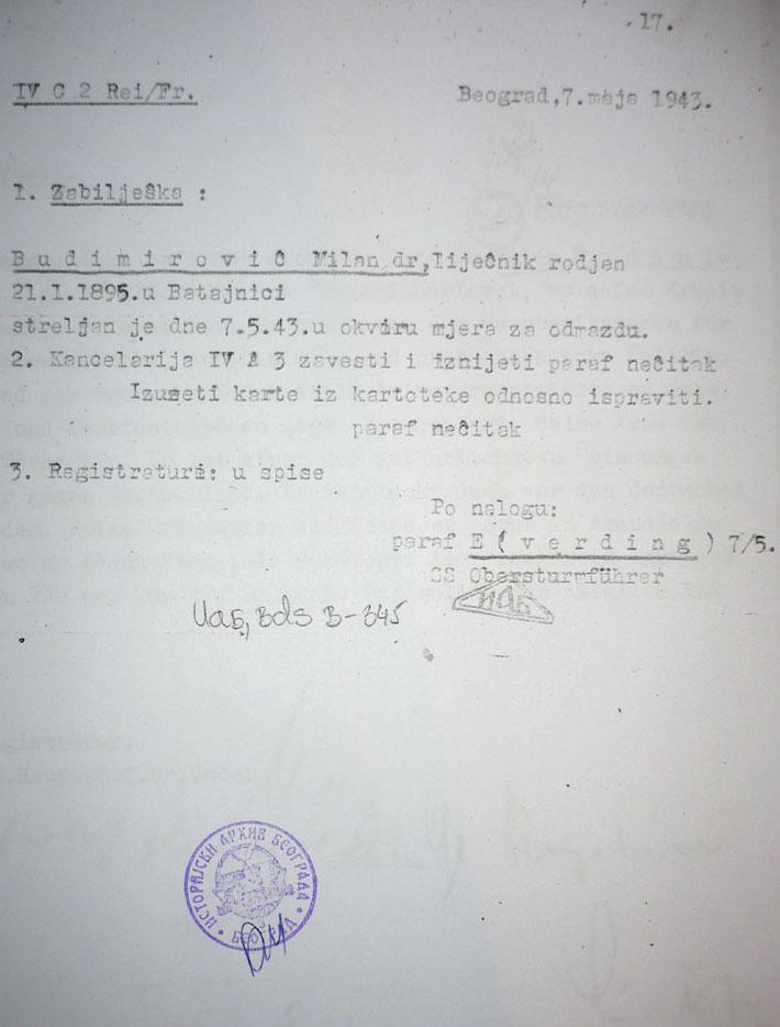 Забелешка Гестапоа о стрељању, на српском