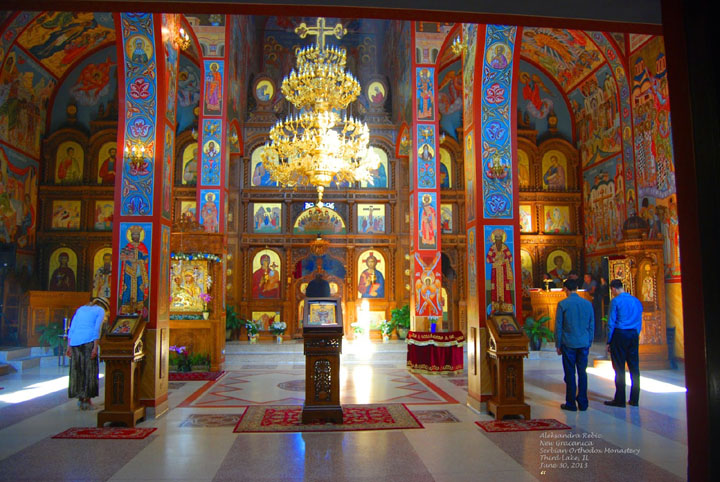 A perfect moment of reflection and prayer at New Gracanica Serbian Orthodox Monastery in Third Lake, IL U.S.A. Photo by Aleksandra Rebic June 30, 2013.