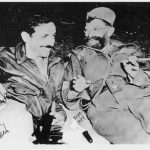 Captain Nick A. Lalich of the OSS sharing a light moment with General Draza Mihailovich in Serbia September 1944.