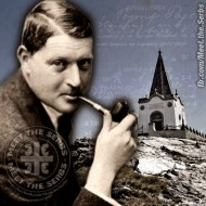 R. Archibald Reiss and Monument to Serbian heroes at Kajmakchalan  Image courtesy of Meet the Serbs on Facebook.