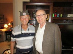 "Left: Lt. Col. Milton Friend (USAF, Ret.) in a traditional Serbian cap, and Nick (""Beli"") Mihajlovich Photo by Judy Mihajlovich August 20, 2014."