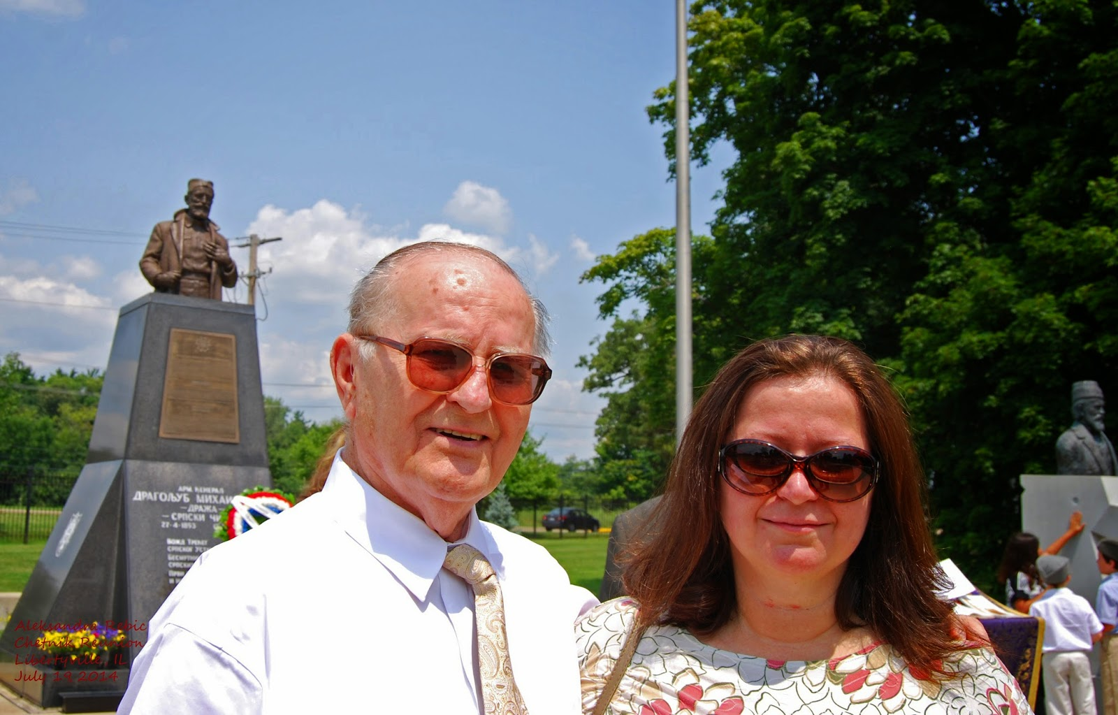 "Mr. Nick (""Beli"") Mihajlovich and daughter Danica St. Sava Monastery, Libertyville, IL Photo by Aleksandra Rebic July 19, 2014"