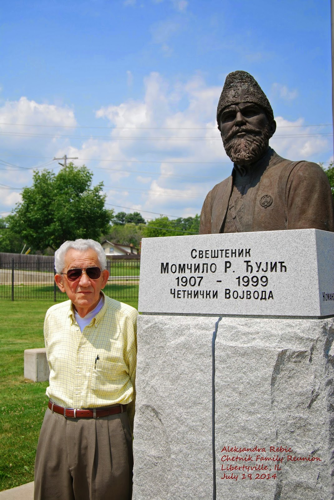 Rade Rebic with Voyvoda Djujich monument at St. Sava Monastery in Libertyville, IL Photo by Aleksandra Rebic July 19, 2014
