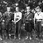 Припадници Борске бригаде. Први с лева, Сергије из Бора