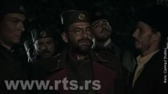 Сцена из ТВ серије ''Равна Гора'': Дража и његови ''бандити'' приказани у мраку и уз хорор музику