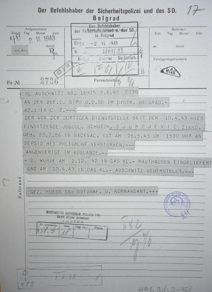 Аушвиц обавештава Гестапо о смрти Живка Млинара