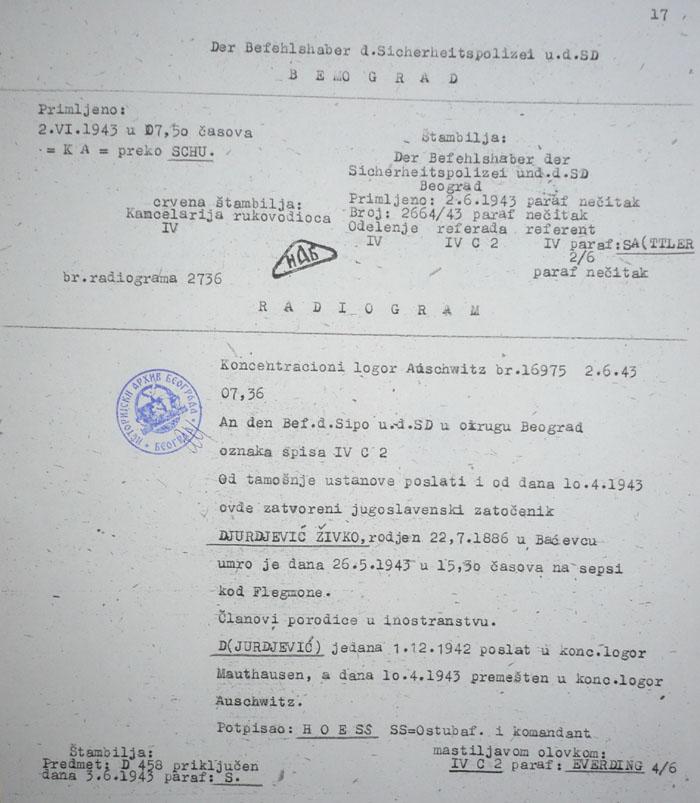 Документ о упућивању Живка Млинара у концентрациони логор