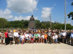 Group gathered at Mihailovich monument for July 17, 2015 parastos for Draza. Photo Zoran Milosevich