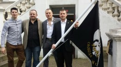 In front of the hotel Ravna Gora from left to right: Marko Vučenović, Miroslav Veselinović, Milisav Marković and Miroslav Milenković