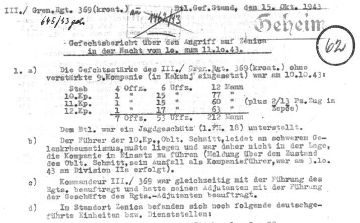 Заглавље до сада необјављеног документа из Бундес архива: Партизани прекидају напад на Зеницу после заузимања куплераја