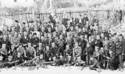 Штабна група Књажевачког корпуса (командант, капетан Миладиновић, стоји трећи с лева).