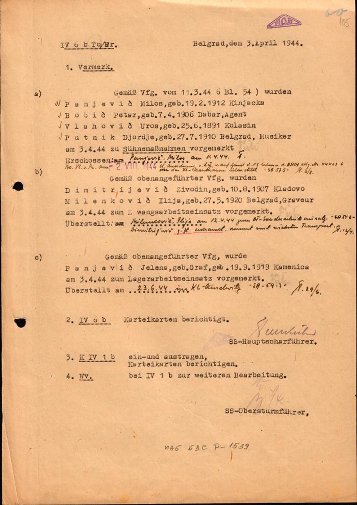 Извештај Гестапоа о стрељању Пањевића и слању у логоре чланова његове групе